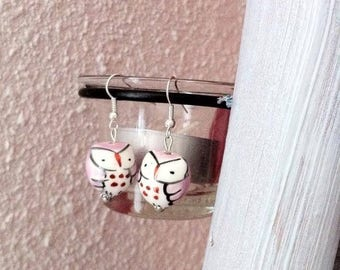 Pink ceramic owls earrings