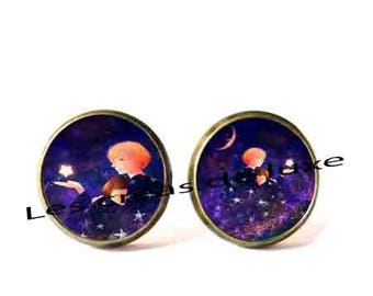 Earrings with cabochon resin 18 mm