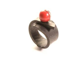 Ring in inner tube recycled car red ball