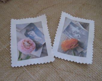 Transfer, image has sewing, vintage, retro, flowers, woman