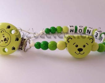 Green bear personalized pacifier