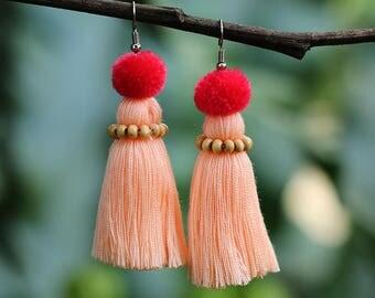Handmade Earrings Tassel Pink Rose Colored Gifts For Women Boho Fashion