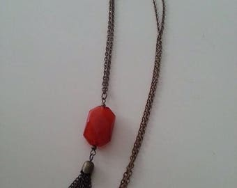 """Trendy coral and brass necklace """"Salomé"""""""