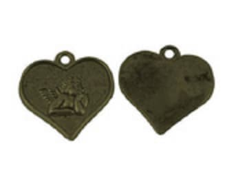 Angel in a bronze metal heart charms
