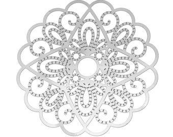 Set of 10 prints filigree steel SC65987 50mm Silver Flower charm