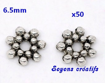 Lot 50 silver spacer beads 6.5 mm flowers