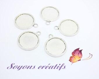 Silver charm pendants 20mm - SC14268 cabochon - 10