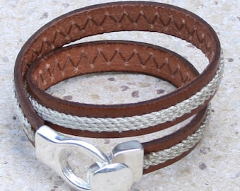 Brown leather strap with natural rope, corkscrew, silver plated clasp
