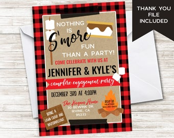 S'mores Engagement Party Invite Invitation Campfire Bonfire Shower Couples Winter Plaid Christmas Digital 5x7