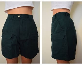 Vintage Forest Green Camp Hiking High Waist Shorts