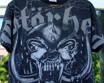 Motorhead logo WAR PIG chains  all-over print t-shirt Medium cotton Hanes 2010 Metallica Judas Priest Iron Maiden Black Sabbath