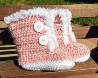 Baby Booties Boots with Fur - Baby Winter Booties - Crochet Booties - Crochet Shoes - Crochet Boots