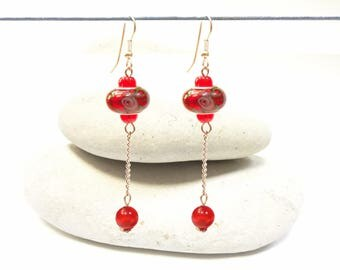 Red chain long earrings