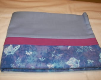blue butterfly pillow case with maroon accent