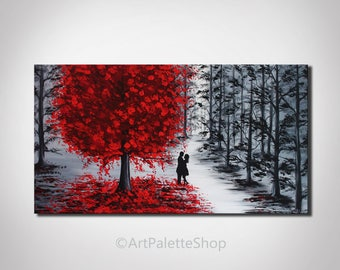 Couples in love canvas art Landscape Autumn Red tree Man and woman Romantic Love art Valentine day Fall decor Acrylic painting on canvas