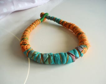 Choker of cloth and cotton green Orange necklace
