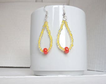 tear drop earrings with yellow and orange/beads earrings