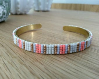 Bangle made of woven beads pink, gold and white