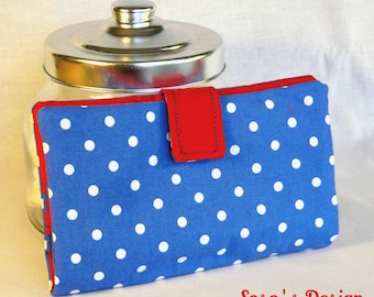 Portfolio Portecarte Portechequier, purse accessory 4 in 1 blue with white polka dots