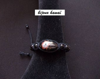 Black shambala bracelet with cotton yarn