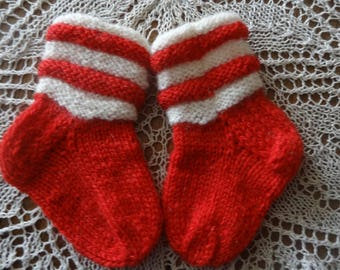 Socks kids red wool knitted handmade