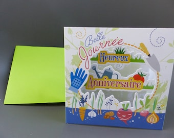 3D birthday card for garden vegetable gardening arosoir