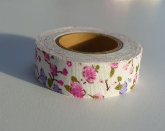 masking tape ruban autocollant tissu fleur rose et mauve bande de 3,50 mètres