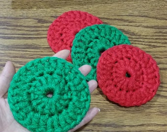 Red & Green Nylon Dish Scrubbies - Set of 2 through 10 - Crochet 4 Inches Pot Scrubber