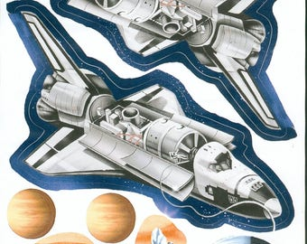 Wall decals or kids furniture * space shuttle B * 1 Board 30 cm x 20 cm