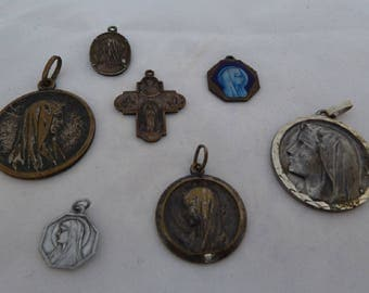 7 medals religious antique our Lady of Lourdes centenary 1958