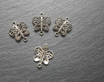 4 silver plated Butterfly connectors
