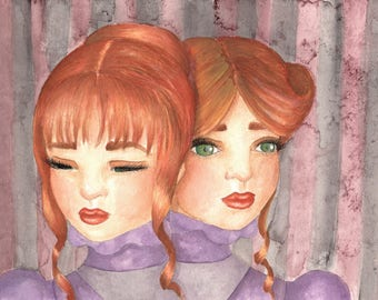 Together Forever -- Watercolor Painting Art Print Sideshow Siamese Twins Gothic