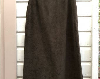 Vintage 90's High-Waisted Midi Skirt Khaki Olive Green Suede-Look Size AU 8 Normcore