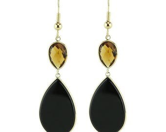 14K Yellow Gold Drop Earrings With Pear Shaped Black Onyx And Smoky Quartz Gemstones