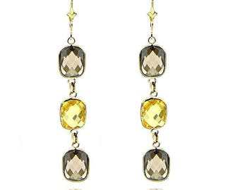 14k Yellow Gold Gemstone Earrings with Cushion Cut Citrine And Smoky Quartz Stations