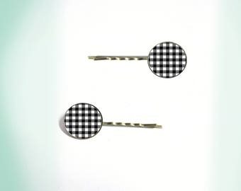 2 hair clips - vintage - cabochon - gingham 2
