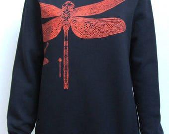 Sweat shirt long sleeves, dragonfly green division, black