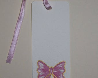 bookmark or gift gift tag pink bow