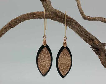 Earrings etched Bronze and ebony, tribal inspired, navette shape