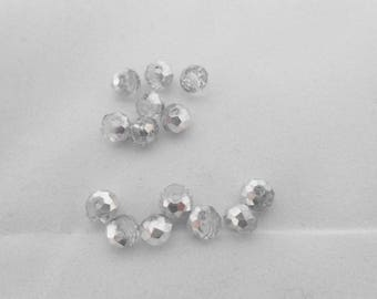 4 4 x 6 mm silver Crystal beads. (9076141)
