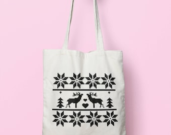 Christmas Pattern Tote Bag Long Handles TB0004