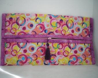 flat clutch multicolored patchwork fabric