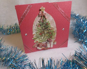 Greeting card, Christmas card, Christmas tree