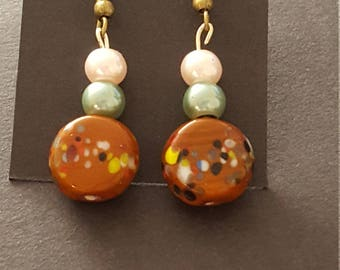 Earrings Drop - Brown Stone