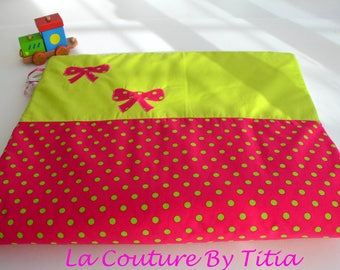 Plaid baby hand made polka dot and bow pink and green accessories fashion baby blanket