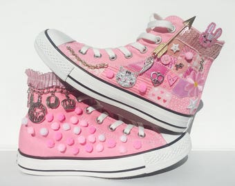 Breast Cancer Survivor Custom Sneakers One of a Kind Painted Converse with Embroidery, Stainless Silver Trinkerts, Pom Poms and Patches.