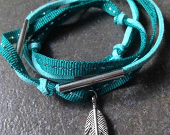 Triple bracelet link for the summer or necklace: turquoise