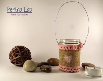 Glass lantern and jute upcycling