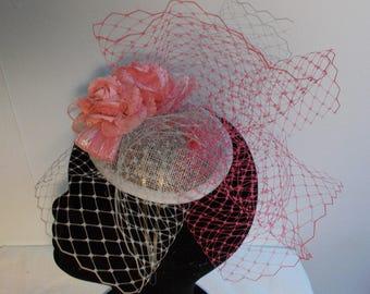 Bibi fascinator headdress wedding ceremony grey/pink B17