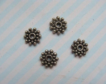 Set of 4 flat 5mm diameter silver-plated spacer beads